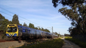 Upfield train approaching Gowrie Station