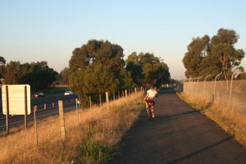 Western Ring Road bikepath at Hadfield heading for Sydney Road. A beautiful sunset/sunrise ride.