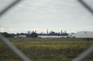 City skyline view over Wetlands & drainage basin where Upfield Bikepath meets the Western Ring Road