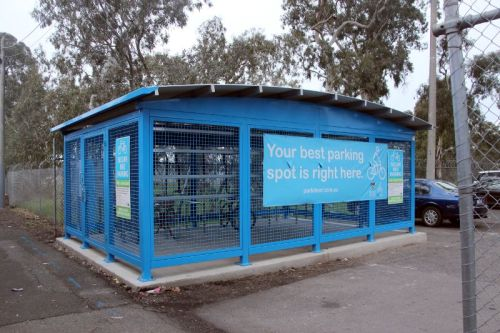 Secure Bicycle parking at Fawkner Station installed