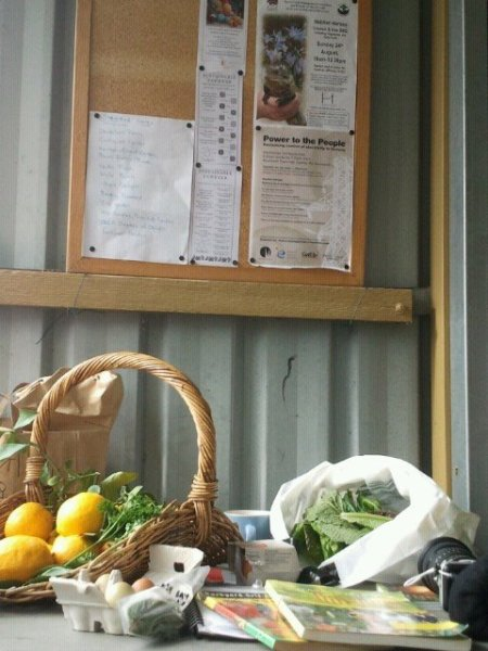 Food swap table under  our new noticeboard