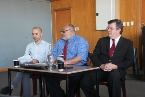 L to R: Jaime de Loma-Osorio (Greens), Mohamed Hassan (Voice of the West), Frank Maguire MP (ALP)