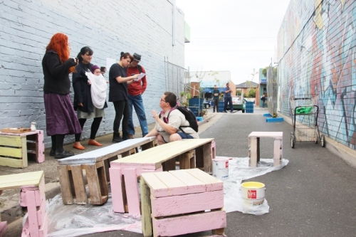 Cr Lenka Thompson joined us and helped painting some recycled  pallet bench seats