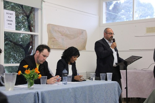 Fawkner candidates meeting for Wills2016: Zane Alcorn, Samantha Ratnam and Peter Khalil