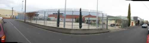 Panorama of Montfort Park and Al Awda Community Centre in the old Scout Hall