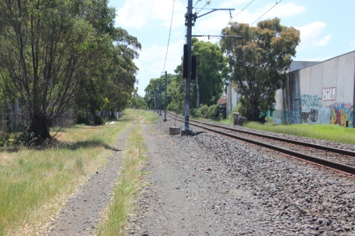 The track presently beside the railway north of Gowrie