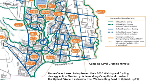 Excerpt from Hume Council walking and Cycling Strategy Action Plan 2010-2015