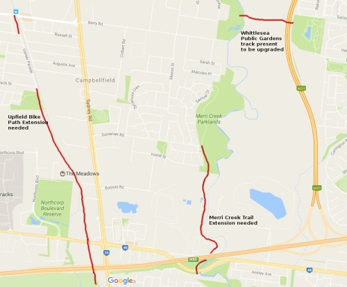 Map of missing link bike paths to get to Merri Creek Park